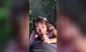 Cute little Asian Girl Plays with and Rides Daddy's Dick in the Park